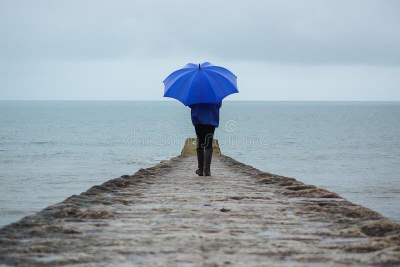 Χτύπημα Devon, UK δυνατών βροχών που καταστρέφει τις διακοπές στοκ εικόνες