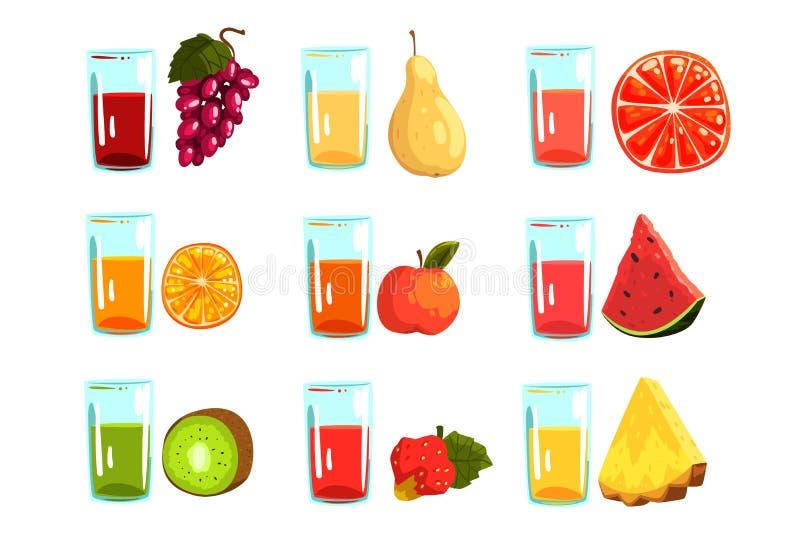 Χυμοί φρούτων καθορισμένοι, πορτοκάλι, μήλο, καρπούζι, ακτινίδιο φράουλες, ανανάς, σταφύλια, αχλάδι, γκρέιπφρουτ, ποτά για το α διανυσματική απεικόνιση