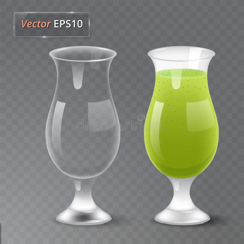 Χυμός και ένα κενό γυαλί Οργανικό ποτό φρούτων σιτηρέσιο υγιεινό Καθαρή κατανάλωση Ψηλό γυαλί με το ποτό Διαφανής φωτογραφία ελεύθερη απεικόνιση δικαιώματος