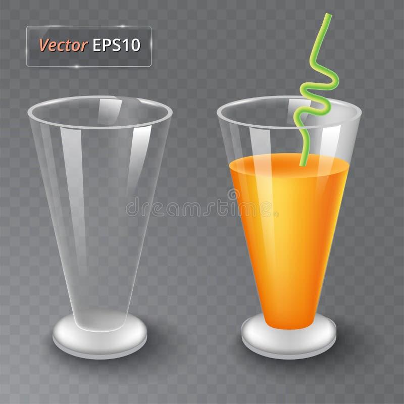 Χυμός και ένα κενό γυαλί Οργανικό ποτό φρούτων σιτηρέσιο υγιεινό Καθαρή κατανάλωση Ψηλό γυαλί με το ποτό Διαφανής φωτογραφία απεικόνιση αποθεμάτων