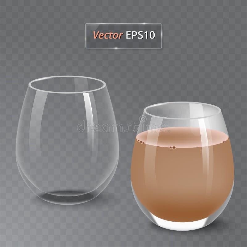 Χυμός και ένα κενό γυαλί Οργανικό ποτό φρούτων σιτηρέσιο υγιεινό Καθαρή κατανάλωση Ψηλό γυαλί με το ποτό Διαφανής φωτογραφία διανυσματική απεικόνιση
