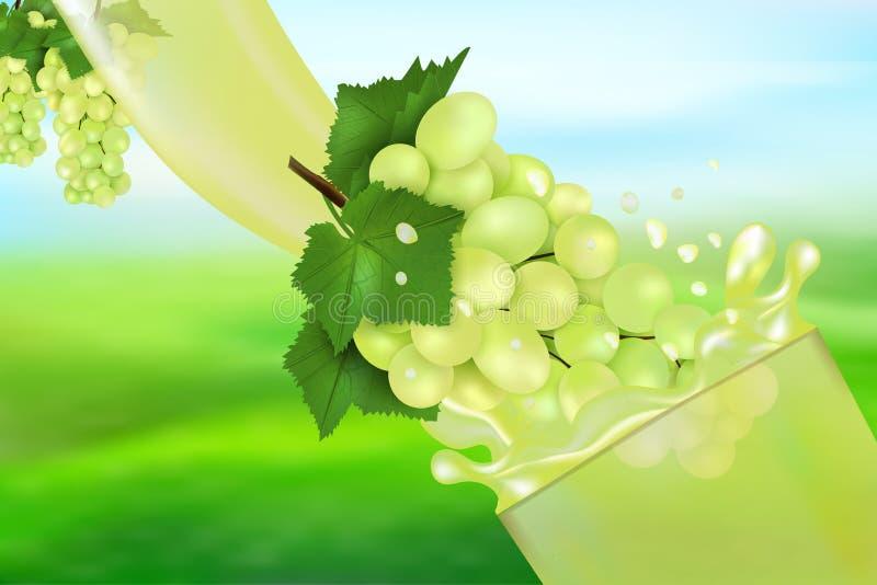 Χυμός και παφλασμός σταφυλιών Ροή του υγρού με τις πτώσεις και τη γλυκιά τρισδιάστατη ρεαλιστική διανυσματική απεικόνιση φρούτων, ελεύθερη απεικόνιση δικαιώματος