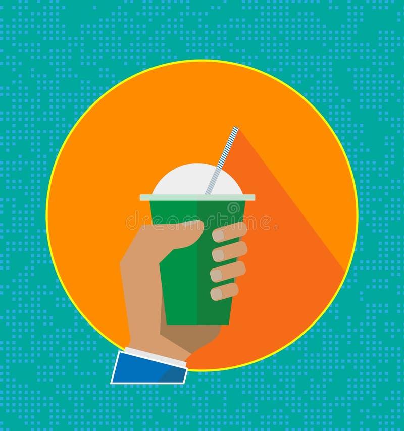 Χυμός καταφερτζήδων φρούτων, εικονίδια Υγιές ποτό Επίπεδη διανυσματική απεικόνιση ύφους των χαριτωμένων κινούμενων σχεδίων milksh ελεύθερη απεικόνιση δικαιώματος