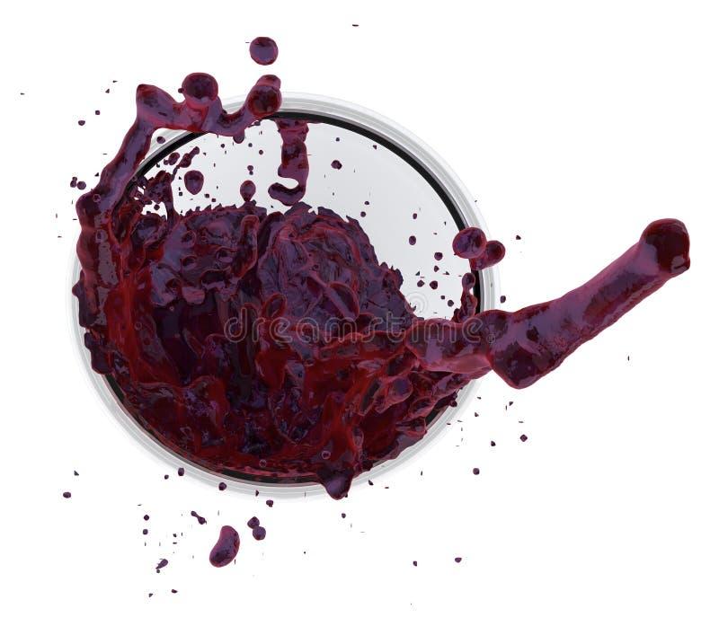 Χυμός κρασιού που καταβρέχει την κινηματογράφηση σε πρώτο πλάνο γυαλιού κινήσεων διατρήσεων φρούτων κόκκινων σταφυλιών στη fruity απεικόνιση αποθεμάτων