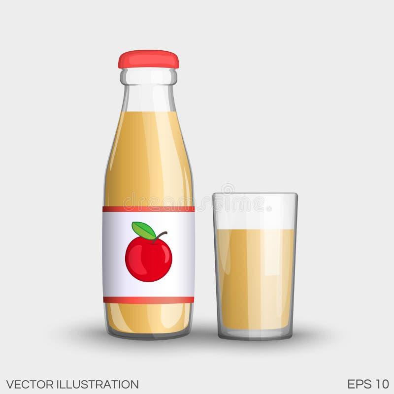 Χυμός της Apple σε ένα διαφανές μπουκάλι γυαλιού που απομονώνεται στο φλυτζάνι διανυσματική απεικόνιση