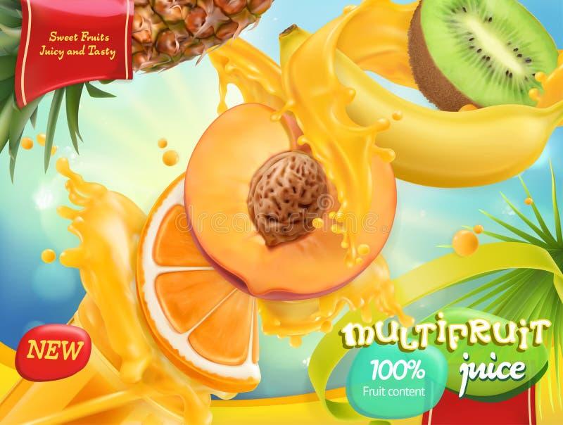 Χυμός Multifruit Γλυκοί τροπικοί καρποί τρισδιάστατο διάνυσμα απεικόνιση αποθεμάτων