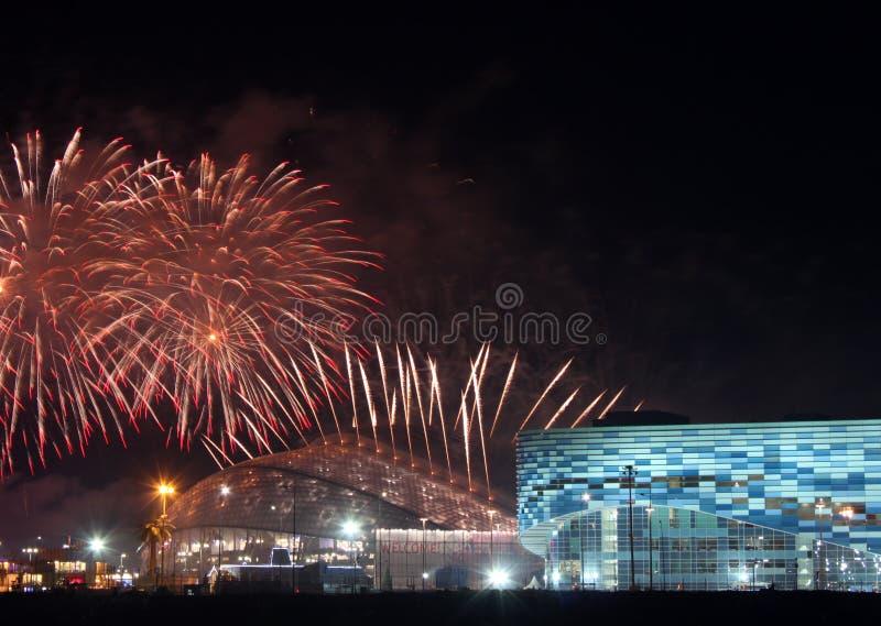 ΧΧΙΙ ολυμπιακοί χειμερινοί αγώνες που κλείνουν την τελετή στοκ εικόνες