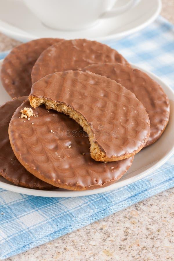 Χωνευτικά μπισκότα σοκολάτας στοκ εικόνες