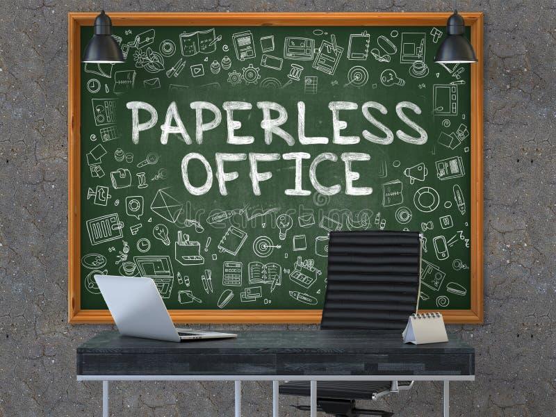 Χωρίς χαρτί γραφείο στον πίνακα κιμωλίας με τα εικονίδια Doodle τρισδιάστατος στοκ εικόνα