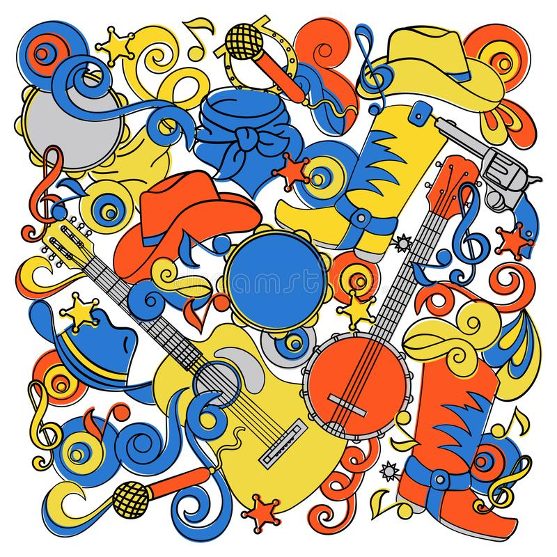 ΧΩΡΑΣ DOODLES δυτικό μουσικής σύνολο απεικόνισης φεστιβάλ διανυσματικό απεικόνιση αποθεμάτων