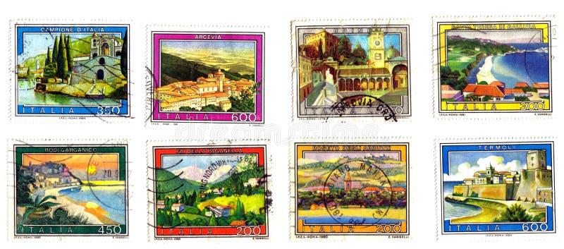 χωριά γραμματοσήμων μνημεί&omega διανυσματική απεικόνιση