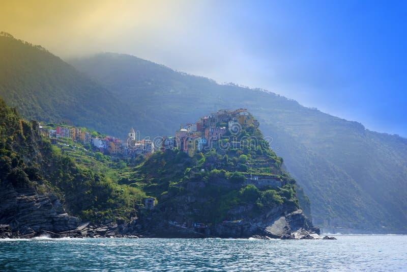 Χωριά στην ακτή της επαρχίας Λα Spezia σε Luguria, Ιταλία στοκ εικόνες