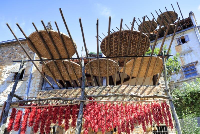 Χωρικοί που ξεραίνουν το αγροτικό προϊόν, πλίθα rgb στοκ φωτογραφία με δικαίωμα ελεύθερης χρήσης
