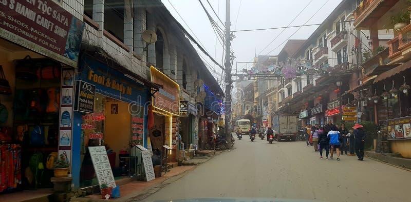 Χωρικοί στις οδούς Sa PA, Βιετνάμ στοκ φωτογραφία
