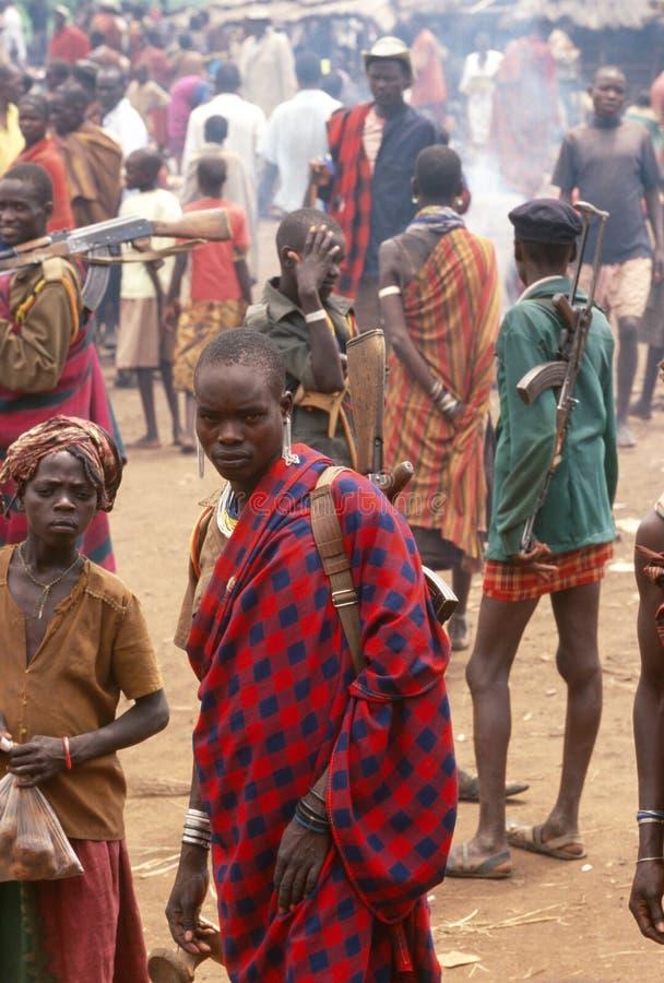 Χωρικοί Karamojong, Ουγκάντα στοκ εικόνες