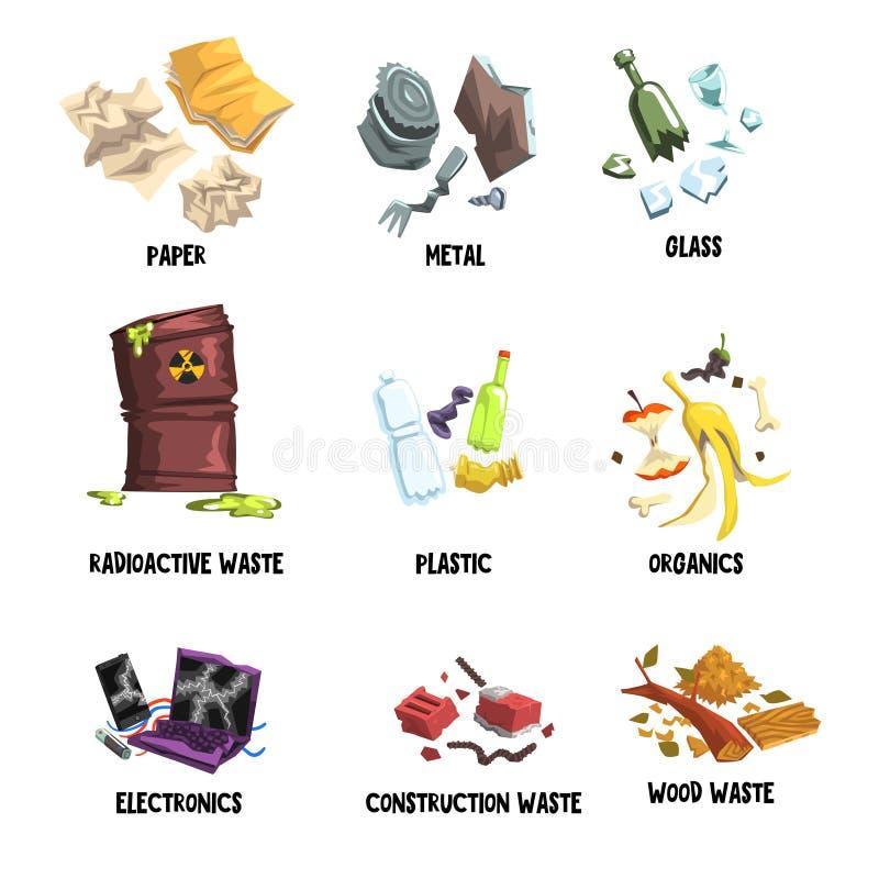 Χωρισμός των απορριμάτων σε χαρτί, μέταλλο, γυαλί, ραδιενεργά απόβλητα, πλαστικό, οργανικές ουσίες, ηλεκτρονική, σκουπίδια κατασκ απεικόνιση αποθεμάτων