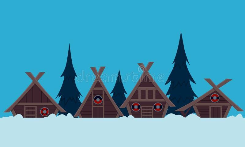 Χωριό Βίκινγκ το χειμώνα απεικόνιση αποθεμάτων