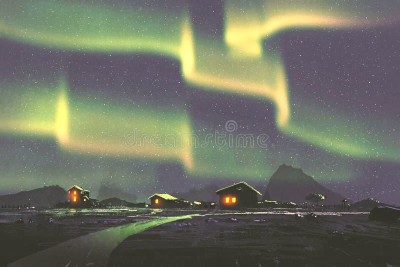 Χωριό κάτω από τα βόρεια borealis αυγής φω'των διανυσματική απεικόνιση