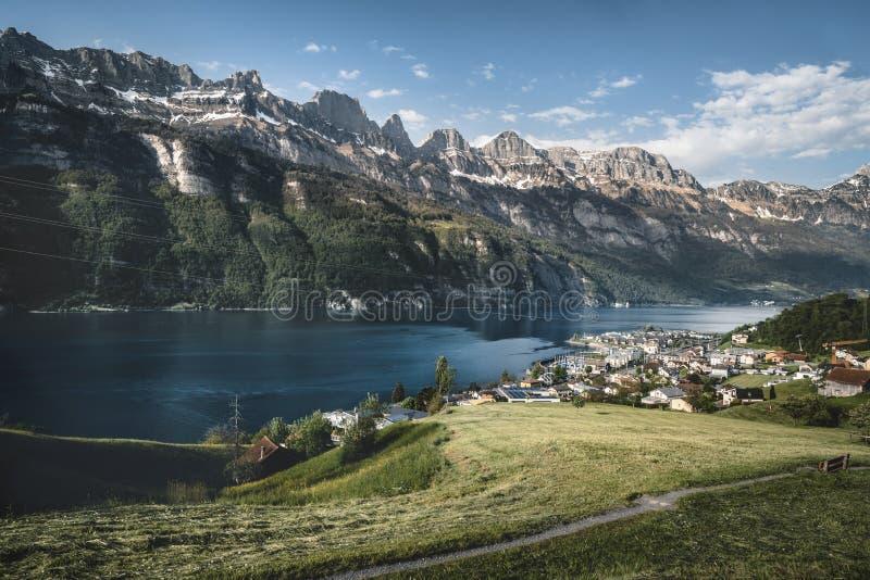 Χωριό κοντά σε μια λίμνη και τα ελβετικά βουνά Άλπεων στοκ εικόνα με δικαίωμα ελεύθερης χρήσης