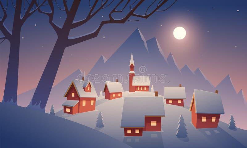 Χωριό στο χιόνι διανυσματική απεικόνιση