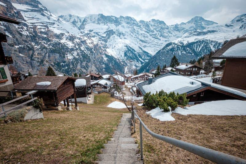 Χωριό της Murren Mürren, Ελβετία στοκ εικόνες