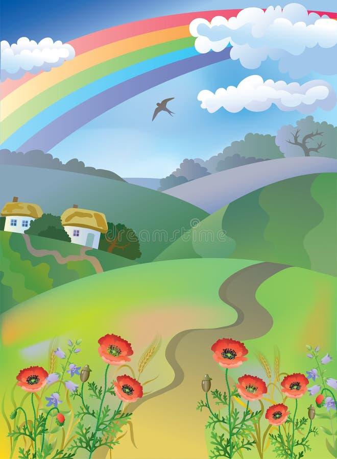 χωριό τοπίων διανυσματική απεικόνιση