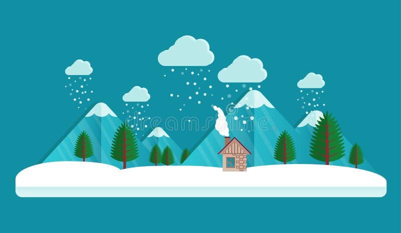 Χωριό το χειμώνα ουρανός σύννεφων χιονοπτώσεις στον αέρα Σπίτι και βουνό Διανυσματικό υπόβαθρο καρτών Χριστουγέννων Επίπεδο ύφος ελεύθερη απεικόνιση δικαιώματος