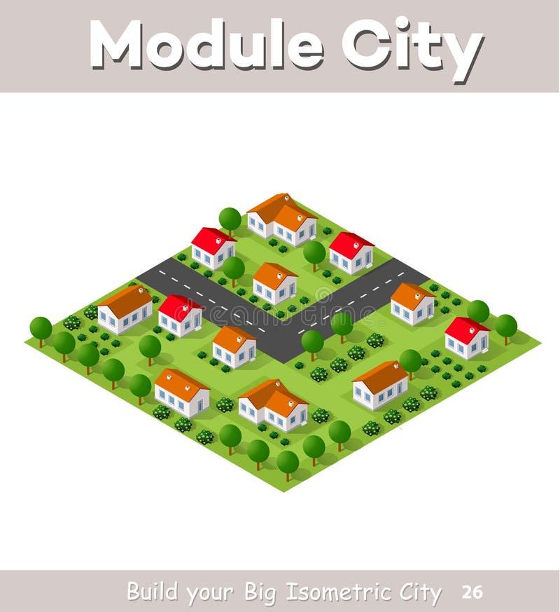 Χωριό χώρας townhouses διανυσματική απεικόνιση