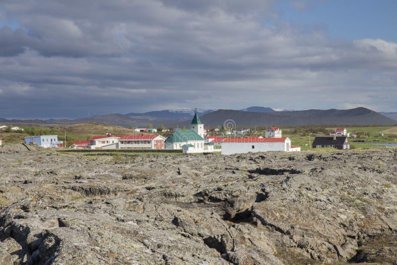 Χωριό Reykjahlid, Ισλανδία στοκ εικόνα με δικαίωμα ελεύθερης χρήσης