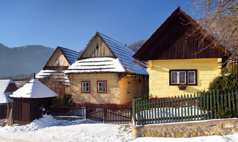 Χωριό Vlkolinec, παλαιά αρχιτεκτονική, Σλοβακία στοκ εικόνες με δικαίωμα ελεύθερης χρήσης