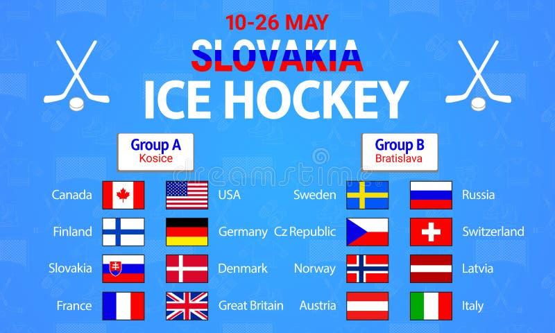Χόκεϋ 2019 πάγου επίσης corel σύρετε το διάνυσμα απεικόνισης Εικονίδια σημαιών χωρών Διάσκεψη στρογγυλής τραπέζης ομάδας χόκεϋ πά ελεύθερη απεικόνιση δικαιώματος