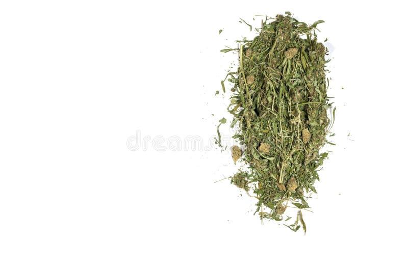 Χόρτο μαριχουάνας με λίγα μικρά μπουμπούκια σε μια χαλαρή στοίβα απομονωμένη σε λευκό φόντο στοκ φωτογραφία με δικαίωμα ελεύθερης χρήσης
