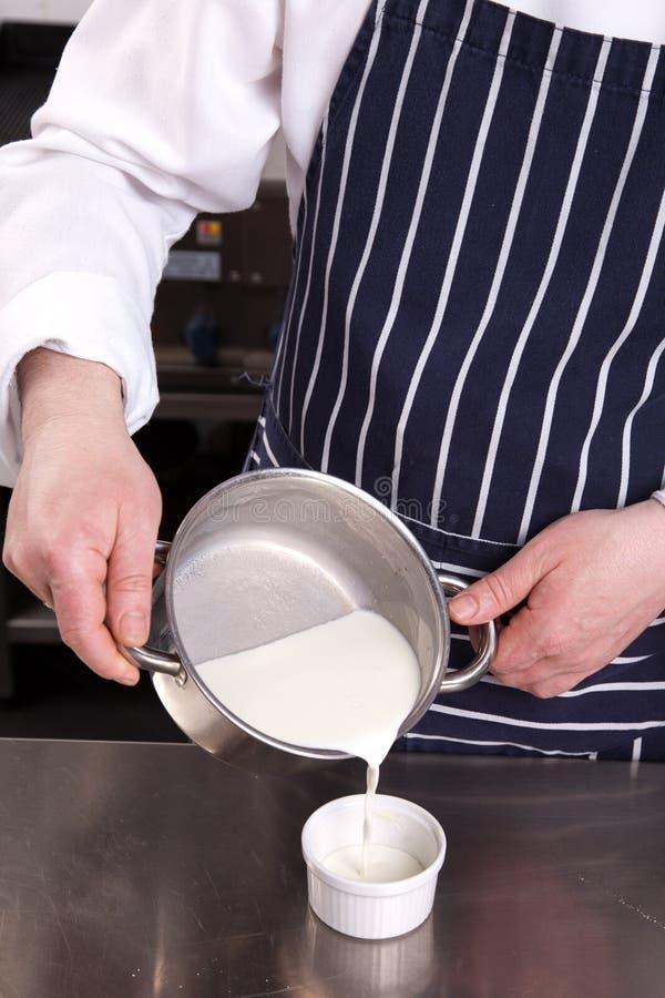 Download Χύνοντας γάλα αρχιμαγείρων στοκ εικόνες. εικόνα από πρόστιμο - 17055376