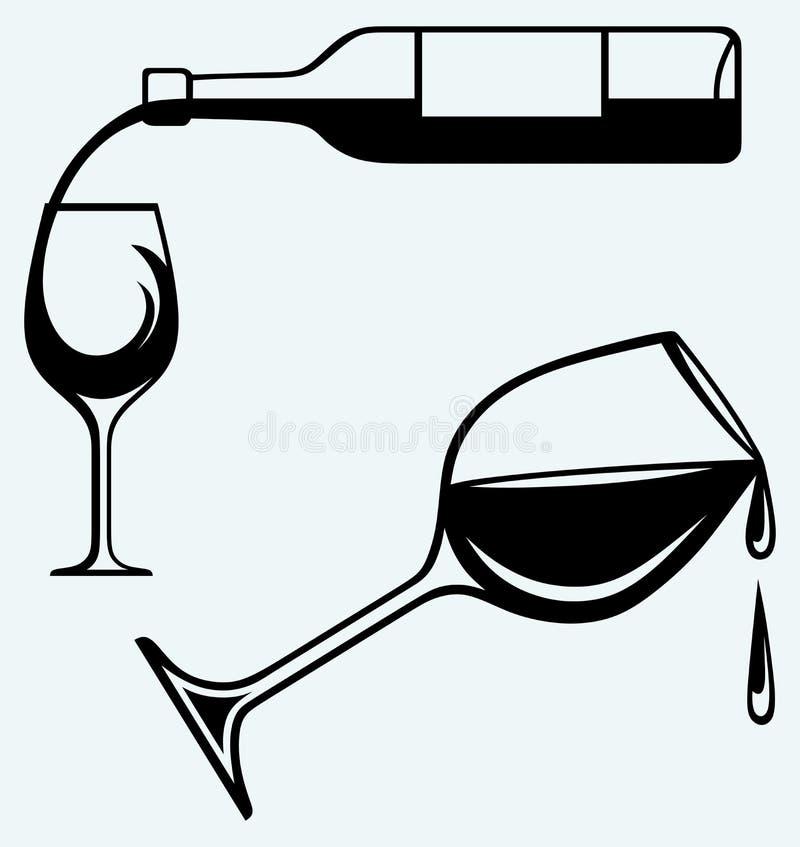 χύνοντας κρασί γυαλιού μπουκαλιών διανυσματική απεικόνιση