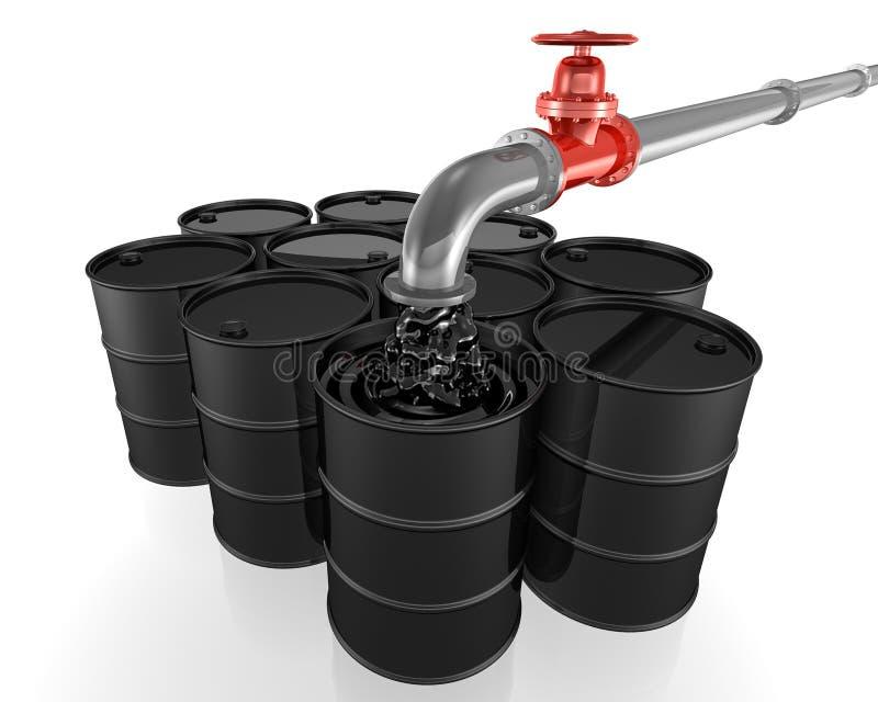 Χύνοντας πετρέλαιο σωλήνων στα μαύρα βαρέλια απεικόνιση αποθεμάτων