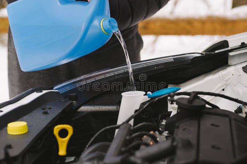 Χύνοντας ρευστό πλυντηρίων χειμερινών ανεμοφρακτών αυτοκινήτων ατόμων στοκ φωτογραφία με δικαίωμα ελεύθερης χρήσης