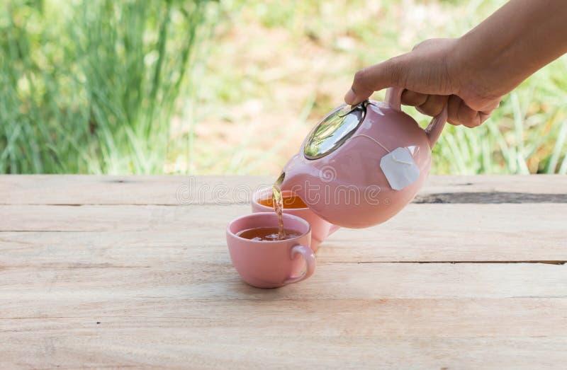 χύνοντας τσάι χεριών στοκ εικόνες με δικαίωμα ελεύθερης χρήσης