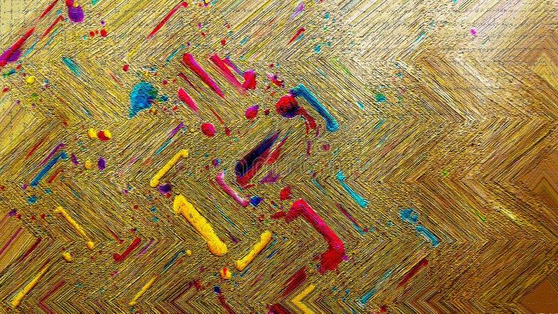 Χύσιμο μελανιού στον ξύλινο πίνακα Φωτεινά κτυπήματα Έργο τέχνης χυσιμάτων μελανιού Ξηρά επιφάνεια μελάνωσης στοκ φωτογραφίες