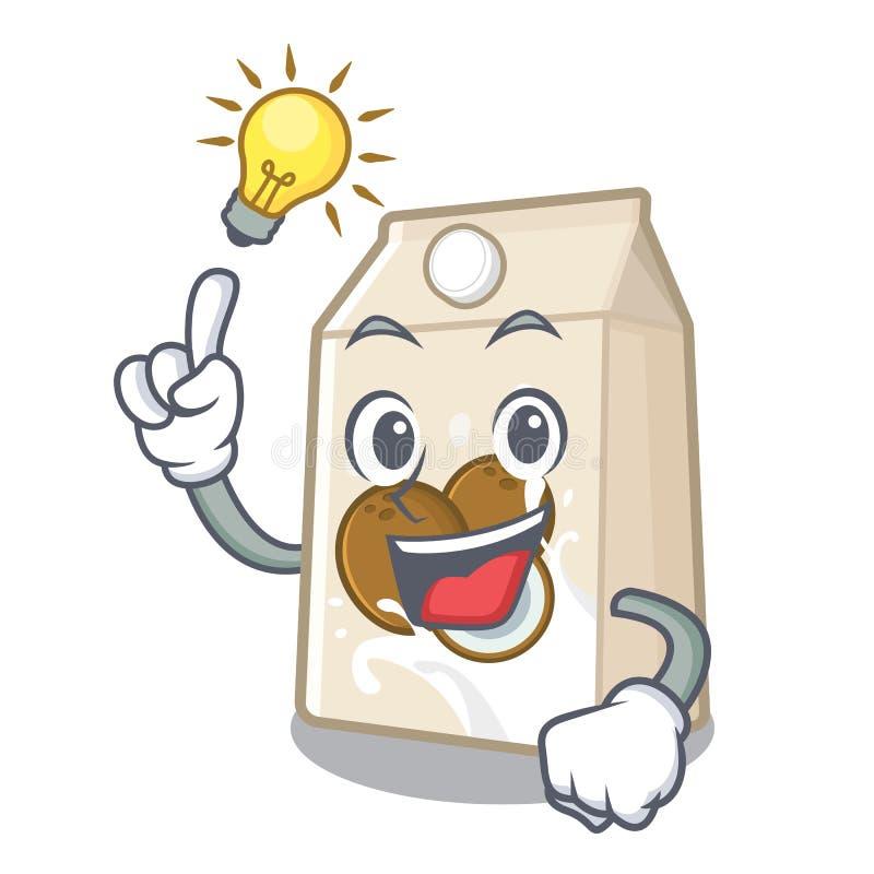 Χύστε ένα γάλα καρύδων ιδέας στο ποτήρι κινούμενων σχεδίων ελεύθερη απεικόνιση δικαιώματος