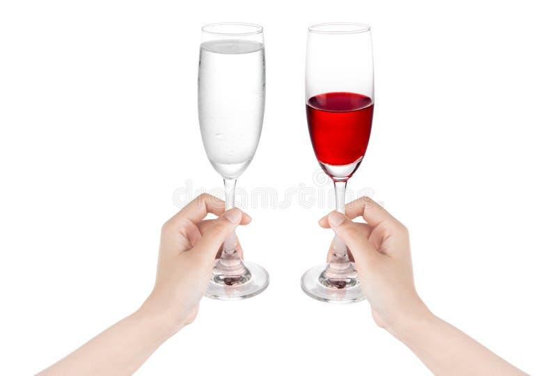 Χύστε σε ένα ποτήρι του νερού με την ταμπλέτα που απομονώνεται σε ένα άσπρο backg στοκ εικόνα