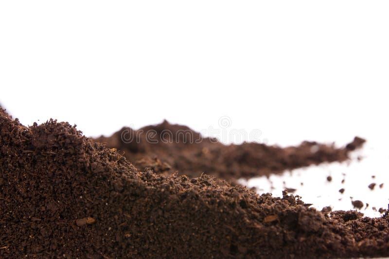Χώμα ή ρύπος που απομονώνεται στο άσπρο υπόβαθρο στοκ εικόνες με δικαίωμα ελεύθερης χρήσης