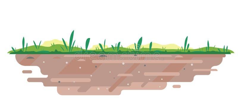 Χώμα με τη χλόη στο επίπεδο ύφος ελεύθερη απεικόνιση δικαιώματος