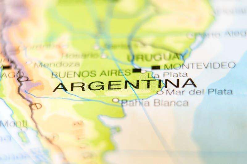 Χώρα της Αργεντινής σε έναν χάρτη στοκ εικόνες