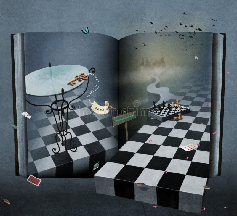 Χώρα των θαυμάτων βιβλίων φαντασίας απεικόνιση αποθεμάτων