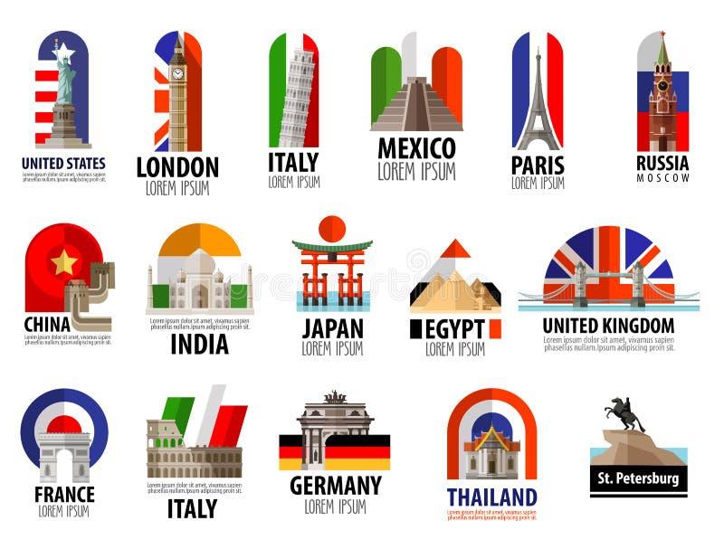 Χώρες του προτύπου σχεδίου παγκόσμιων διανυσματικού λογότυπων απεικόνιση αποθεμάτων