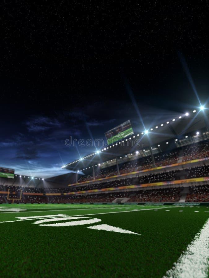Χώρος αμερικανικού ποδοσφαίρου νύχτας στοκ φωτογραφίες με δικαίωμα ελεύθερης χρήσης