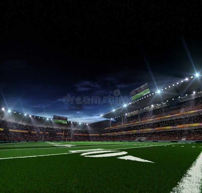 Χώρος αμερικανικού ποδοσφαίρου νύχτας στοκ εικόνα