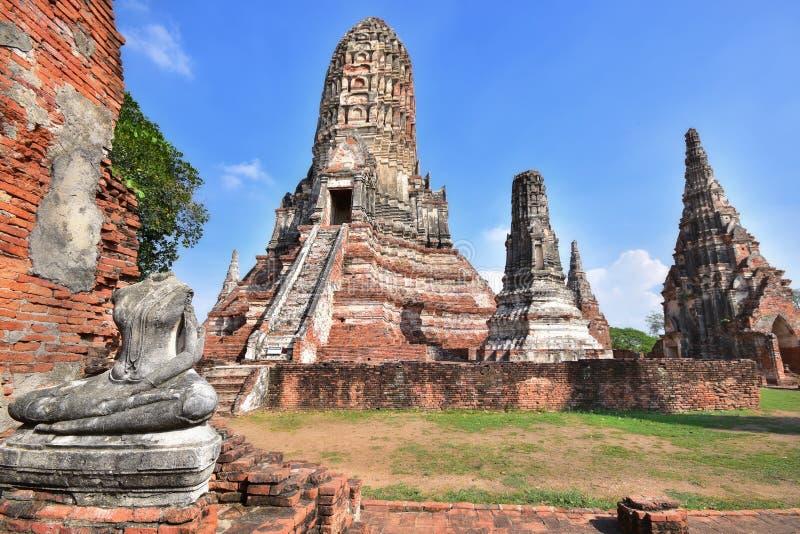 Χώρος λατρείας, Wat Chaiwatthanaram σε Ayutthaya, Ταϊλάνδη στοκ εικόνα
