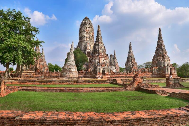 Χώρος λατρείας, Wat Chaiwatthanaram σε Ayutthaya, Ταϊλάνδη στοκ φωτογραφία με δικαίωμα ελεύθερης χρήσης