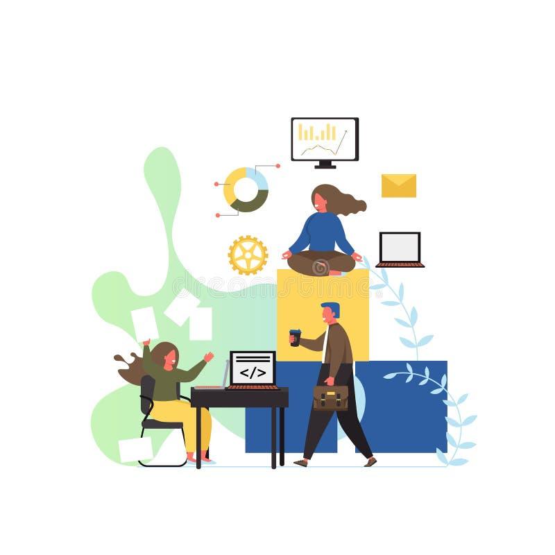 Χώρος εργασίας γραφείων, διανυσματική επίπεδη απεικόνιση σχεδίου ύφους ελεύθερη απεικόνιση δικαιώματος